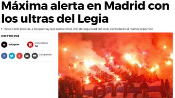 """""""Sieją terror"""". Hiszpańskie media przestrzegają przed kibicami Legii"""