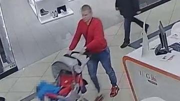 """""""Tata złodziej proszony do komisariatu!"""" Z dzieckiem w wózku okradł sklep [WIDEO]"""
